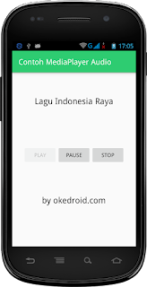 Hasil tampilan Aplikasi Media Player Audio sesudah di Play