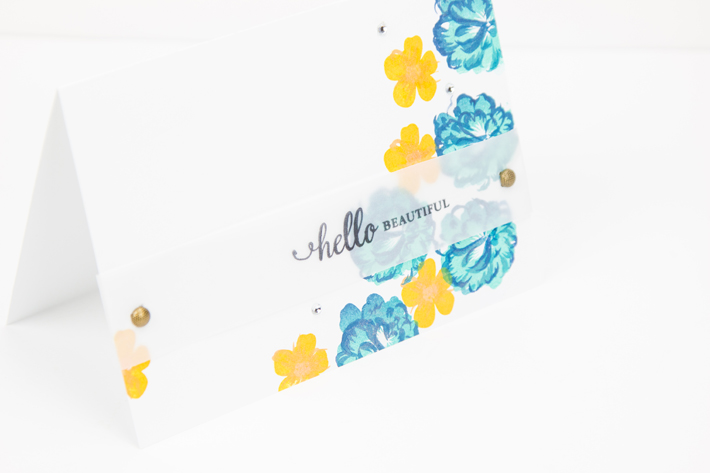 Hello Beautiful layering flower card by @createoften
