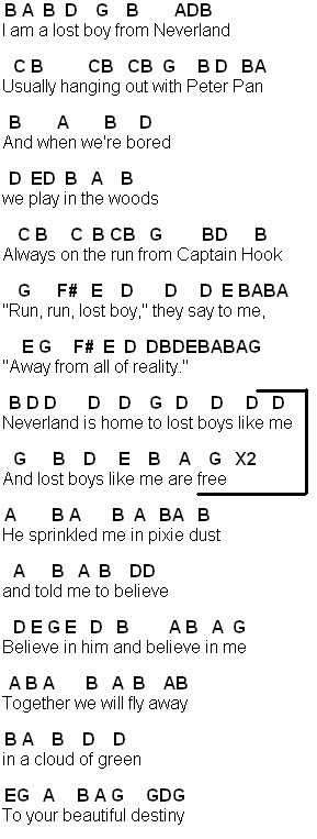 picture relating to Lost Boy Piano Sheet Music Free Printable named Flute Sheet Tunes: Dropped Boy