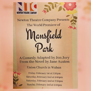 playbill of Mansfield Park Newton Theatre Company production of the Jane Austen novel adapted by Jon Jory