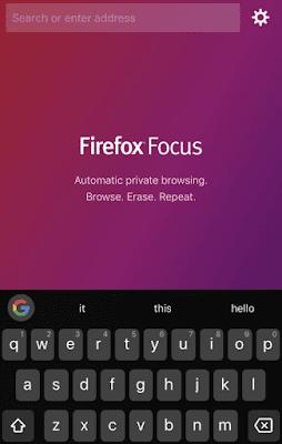 Firefox focus - Aplikasi Web Browser Terbaik Untuk iPhone