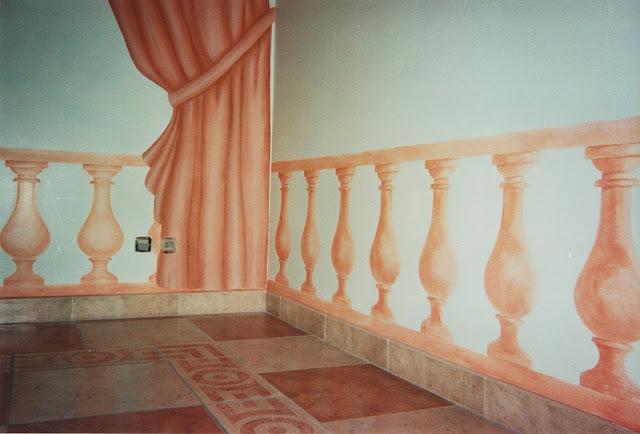 peinture imitation de balustres, drapé, décor, trompe-l'oeil, patine