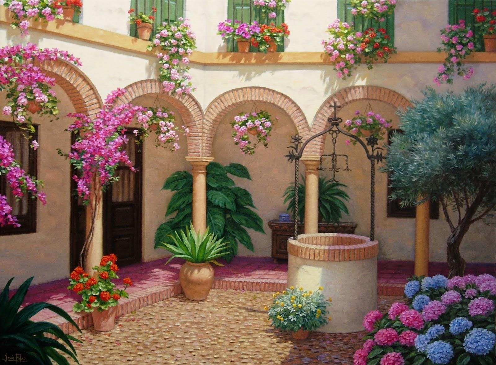 Jes s fern ndez pintor patio andaluz con pozo y olivo - Cuadros modernos con mucho color ...