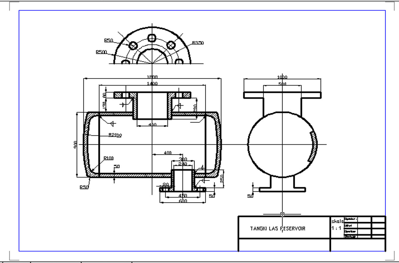 Technic Autocad Working Drawings Welding Tank Reservoir