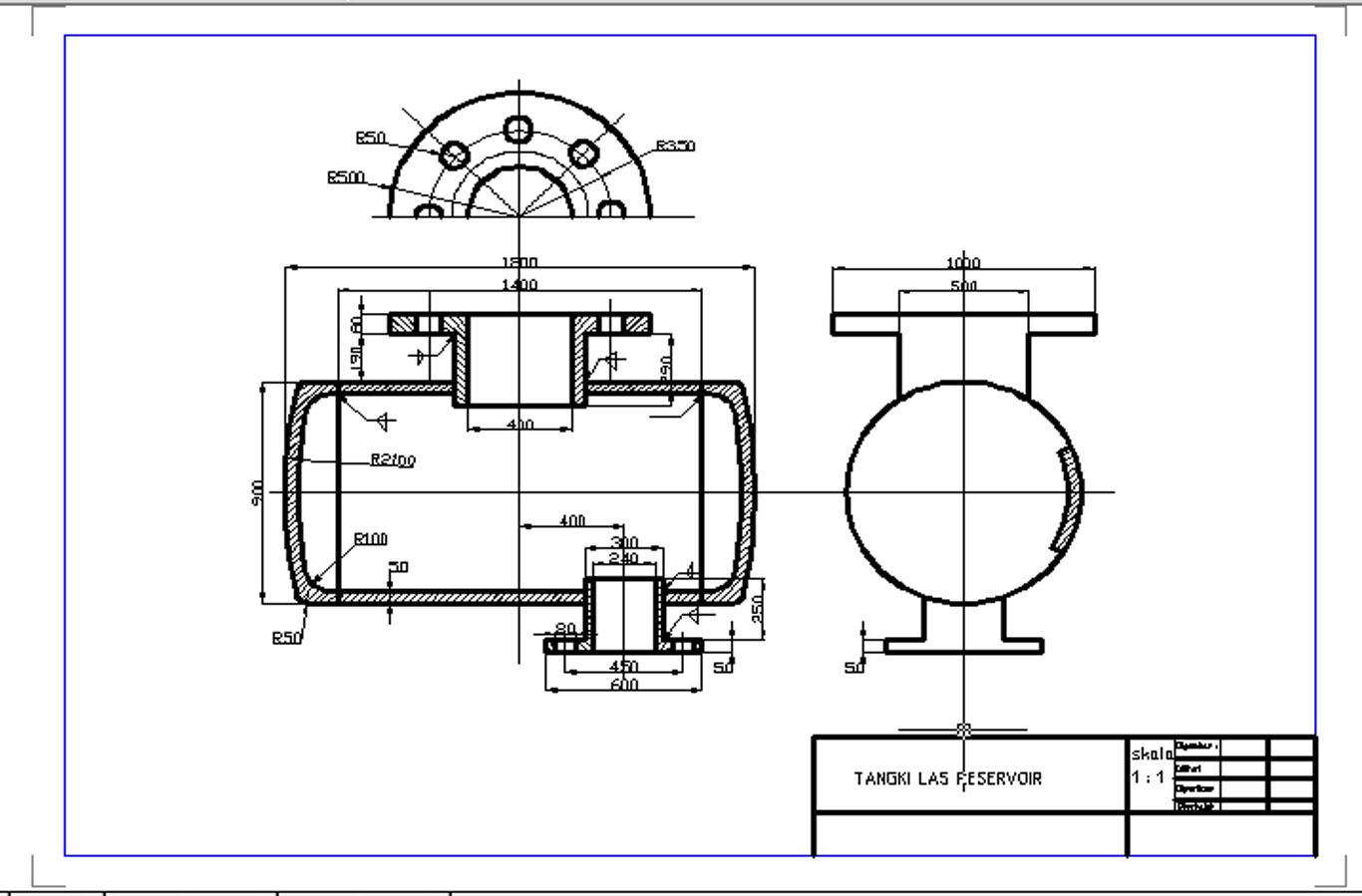 Technic Autocad Working Drawings Welding Tank Reservoir