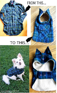 image Blue check shirt with pocket made into small dog coat before and after