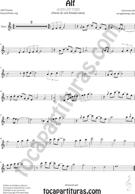 Alf Partitura de Oboe Sheet Music for Oboe