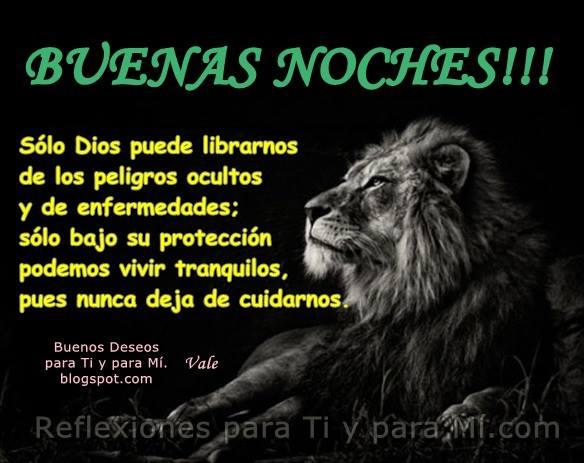Sólo Dios puede librarnos  de los peligros ocultos y de enfermedades. Sólo bajo su protección podemos vivir tranquilos, pues nunca deja de cuidarnos.  BUENAS NOCHES !!!