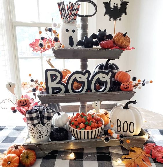 tiered tray styled for halloween