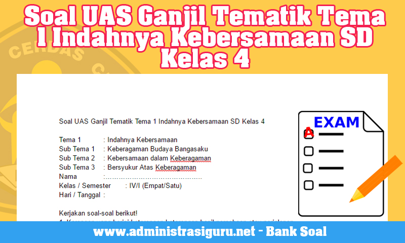 Soal UAS Ganjil Tematik Tema 1 Indahnya Kebersamaan SD Kelas 4