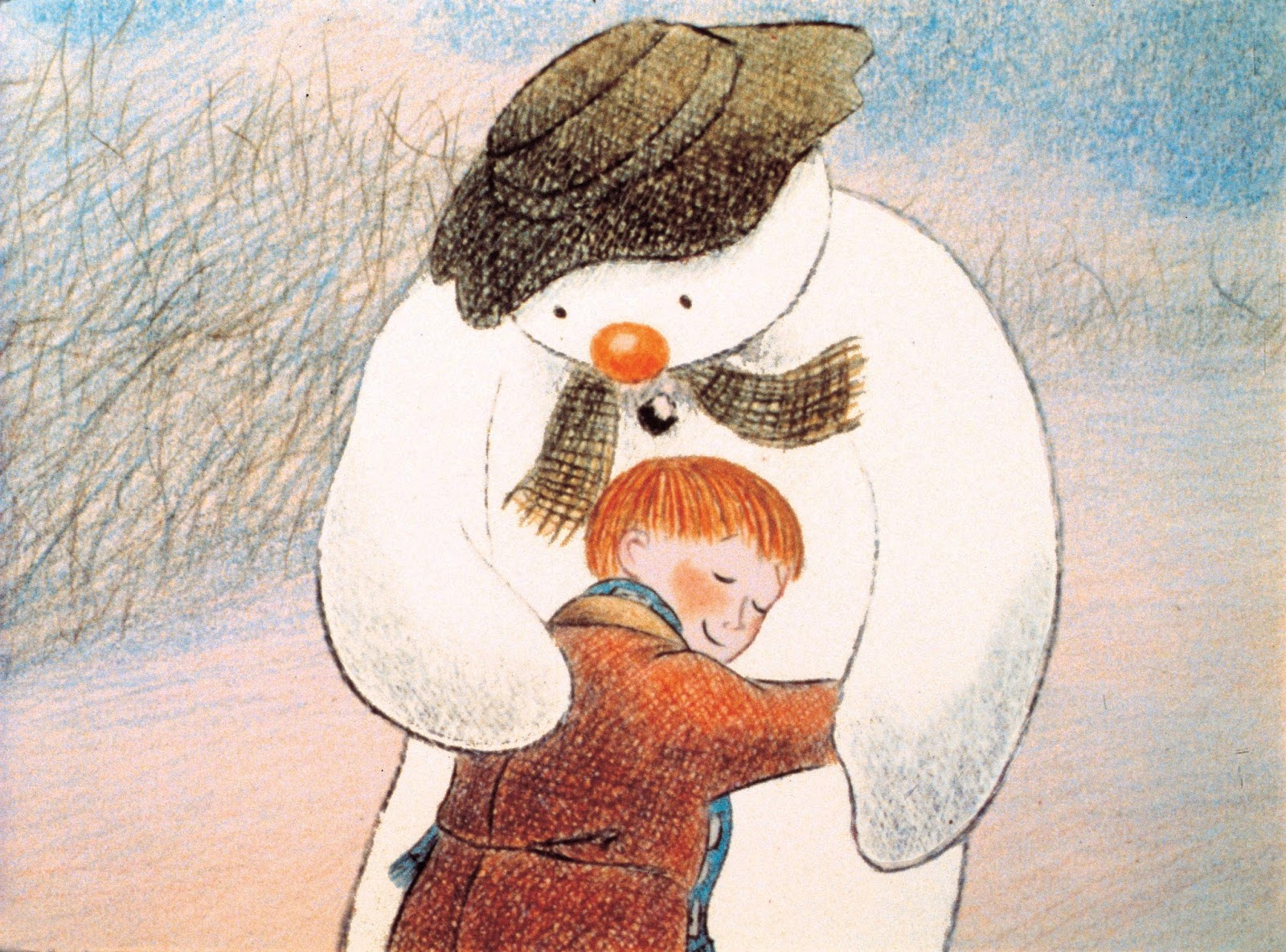 original painting of the snowman hugging the boy