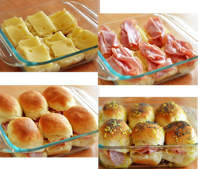 Ham and Cheese Sliders are savory and delicious baked ham sandwiches with a mustard poppy seed dressing. Life-in-the-Lofthouse.com