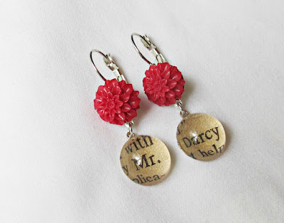 image earrings mr darcy jane austen pride and prejudice red flowers two cheeky monkeys winter 2017 range