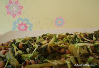 Λουβιά με λάχανα - Black eyed peas with silverbeet