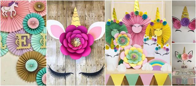 adornos-de-papel-rosetones-unicornio