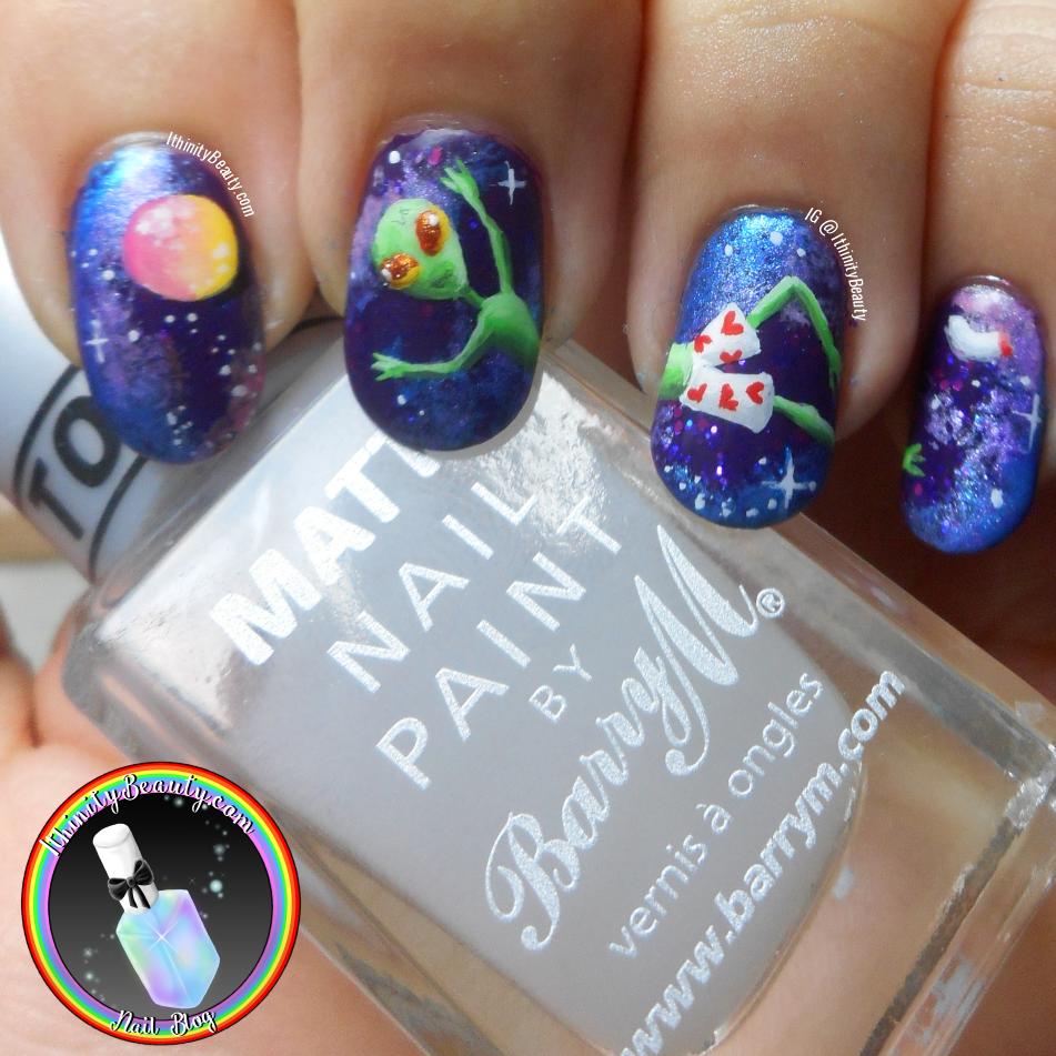 Freehand Alien Nail Art Into Space Ithinitybeauty Nail Art Blog
