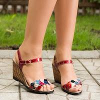 Sandale dama Piele Minet rosii cu platforma (modlet)