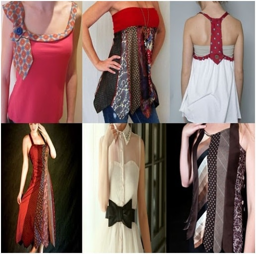 Fashionable dresses made by men's tie