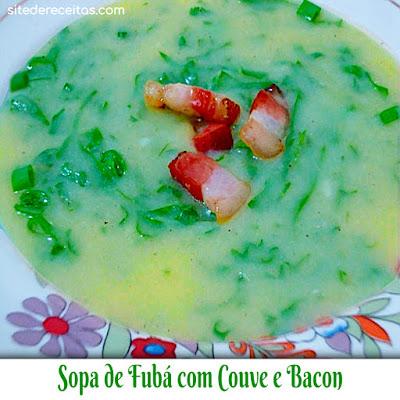 Sopa de fubá com couve e bacon