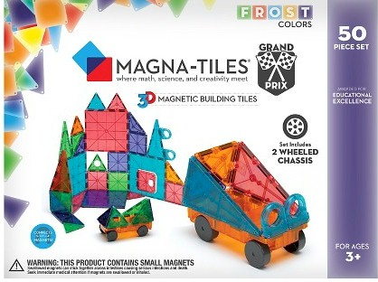 Magna Tiles Frost Grand Prix 50 Piece Set 79 99 With Free Prime Shipping Includes Newest Style Of One Side Is Colored And The Other