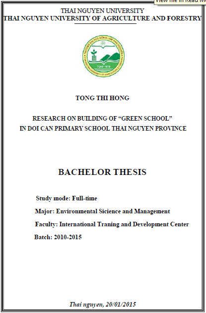 "Research on building of ""Green School"" in Doi Can Primary School in Doi Can Primary School – Thai Nguyen Province"
