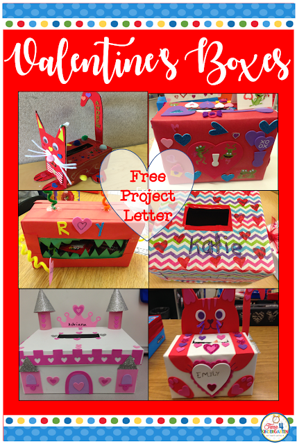 Free Valentines Box family project letter.  Have your students create  a fun Valentines Day box at home with their family.  At home projects are a great way to encourage families to spend time together.  This project is great for pre-school, kindergarten, first grade, second, thirds and upper grade students too.            #valentines #valentinesdaybox #valentinesproject