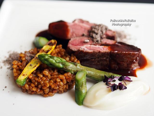 Slow Cooked Lamb Rump Mushroom Barley, Roasted Artichoke Puree, Chocolate Ale Reduction RM 75