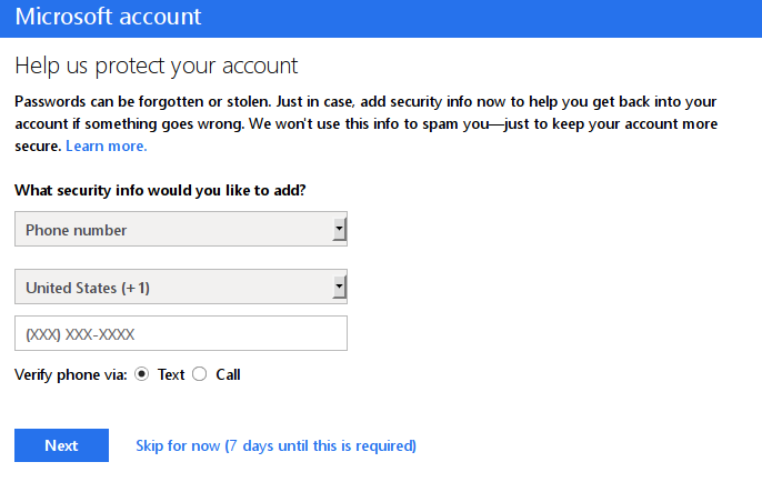 Microsoft is trying to get my phone number - they force me