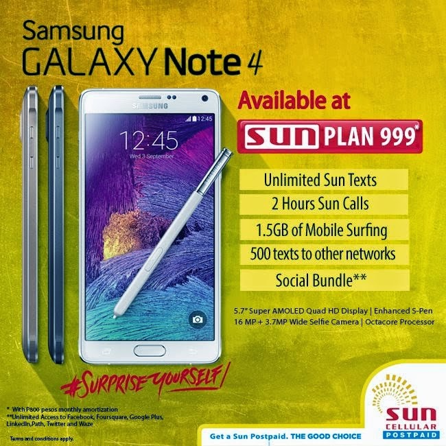 Sun cellular now offers samsung galaxy note 4 under plan for Sun mobile plan