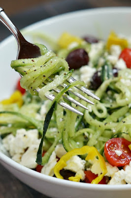 Spiralized Greek Salad from Pretty Providence, featured for Low-Carb Recipe Love on Fridays  on KalynsKitchen.com