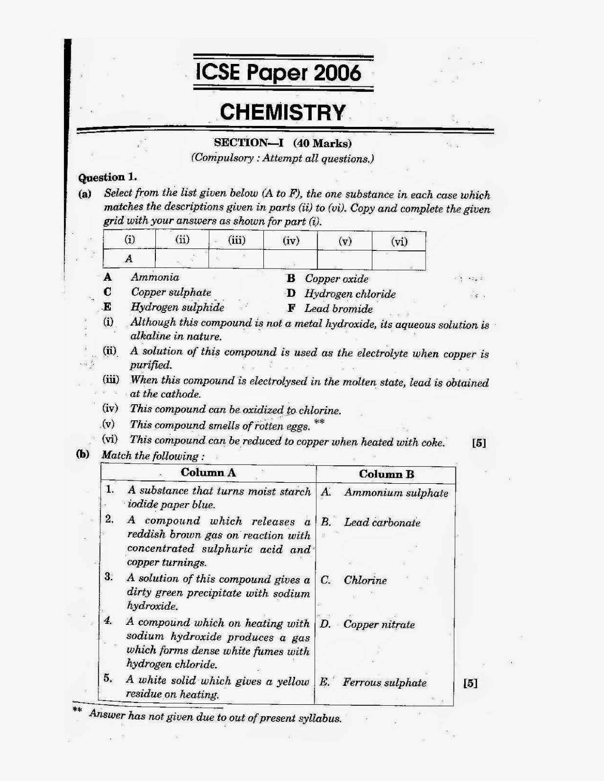 Model Test Papers For Class 10 Icse Chemistry