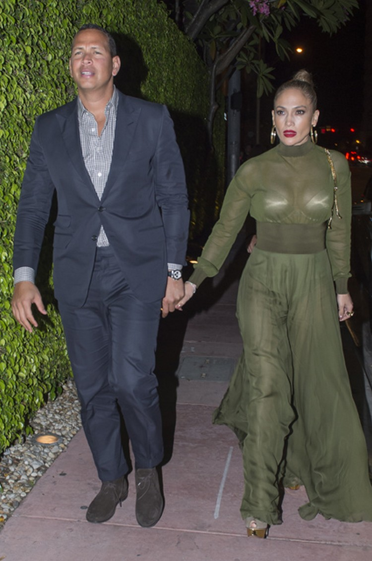 Jennifer Lopez in see-through dress with Alex Rodriguez
