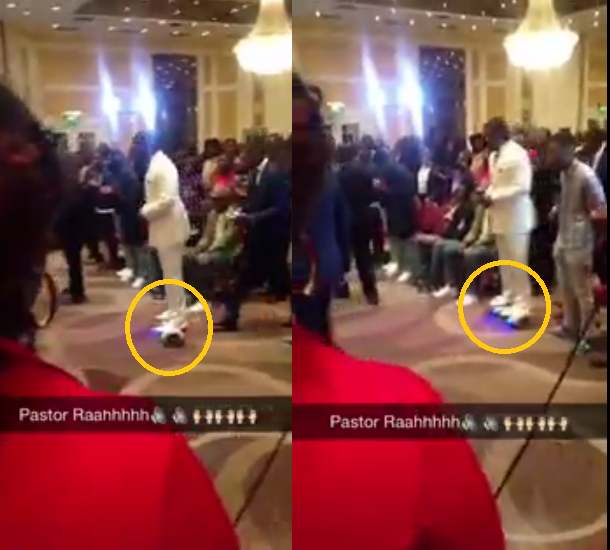 Nigerian Pastor rides into church on hoverboard,