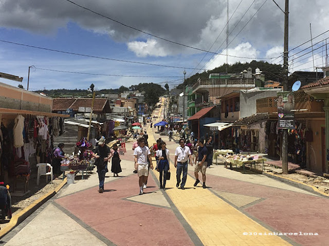 Tourists in yellow brick road in San Juan Chamula, Chiapas