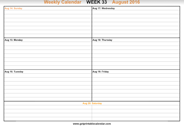 8 week calendar template