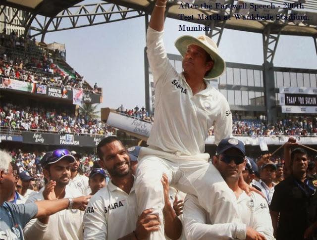 Farewell speech of Sachin Tendulkar after the 200th Test Match at Wankhede stadium, Mumbai