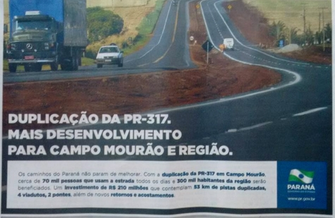 Obra do pedágio vira propaganda do Governo do Estado