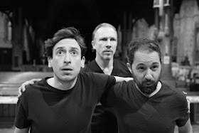 Shadwell Opera - Maxwell Davies: The Lighthouse - rehearsal with Paul Curievici, Pauls Putnins & Owain Browne (Photo © Nick Rutter)