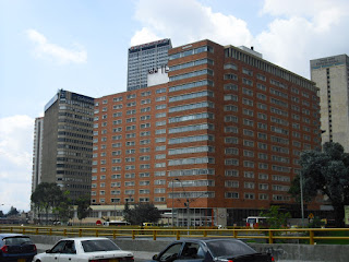 The Davivienda building in downtown Bogotá stands tall
