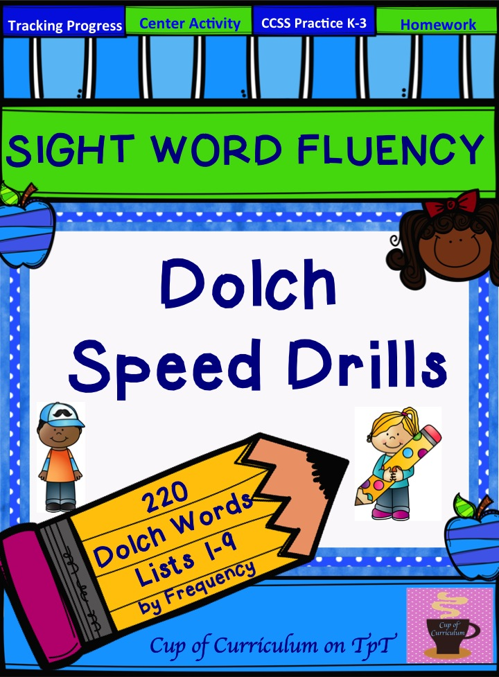 Cup of Curriculum: SIGHT WORD FLUENCY: Dolch Speed Drills