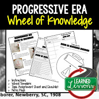 Progressive Era, American History Activity, American History Interactive Notebook, American History Wheel of Knowledge