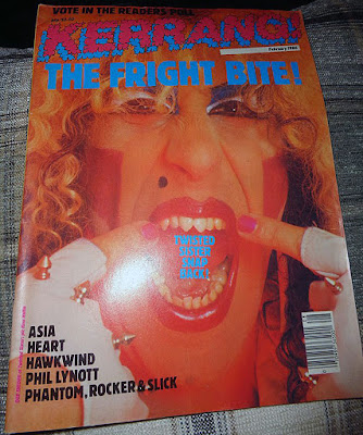 Dee Snider on the cover of Kerrang magazine with his newly filed down front teeth... you crazy bastard you... February 1986