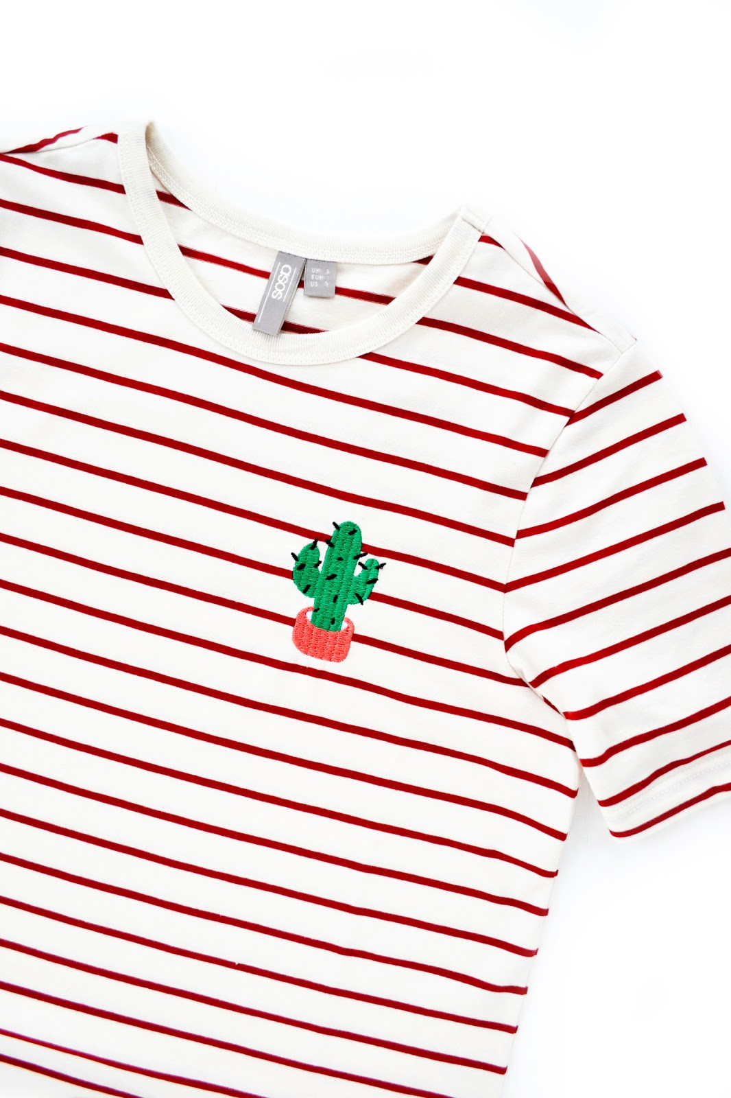 stripy cactus embroidery tshirt from asos, asos haul