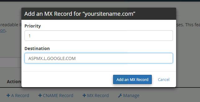 tambahkan catatan MX baru