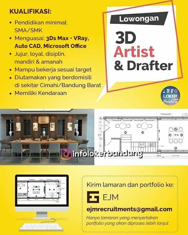 Lowongan Kerja 3D Artist & Drafter PT. EJM Bandung September 2018