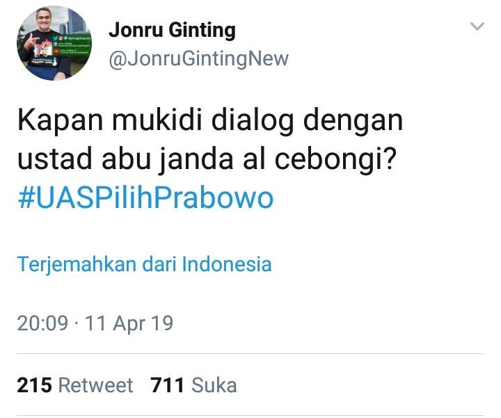 #UASPilihPrabowo, Ini Pertanyaan Telak Jonru Sindir 01