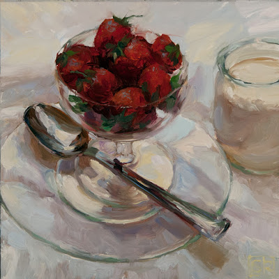 Still life painting of strawberries and cream oil on panel all prima Shannon Reynolds 2016