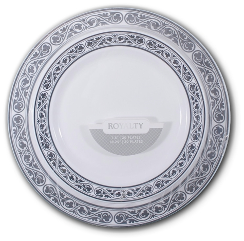 These  looks-like-real  high-quality disposable plates are white with a metallic silver rim ...  sc 1 st  Daily Cheapskate & Daily Cheapskate: Royalty Collection 40-count set of