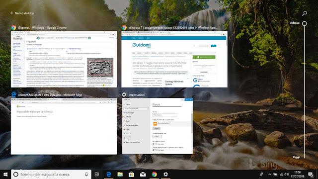 Visualizzazione attività Windows 10 con cronologia web di Chrome