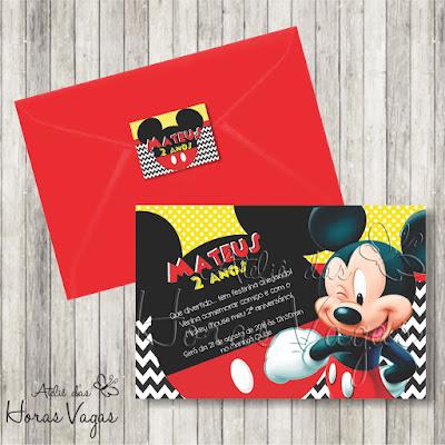 convite digital aniversário infantil personalizado artesanal festa 1 aninho chá de bebê fraldas menino mickey mouse casa do mickey disney amarelo vermelho preto divertido